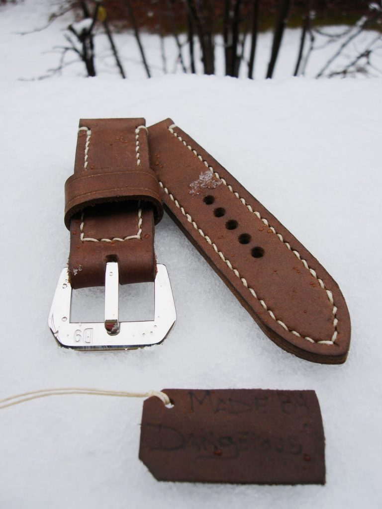 Coco Brown Nubuck 'Weekender' Series strap for Panerai - showing 'D9' sewn-in buckle