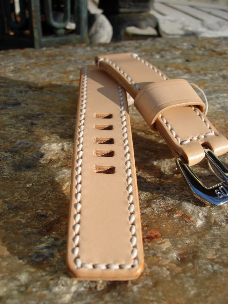 Natural Leather Strap for U-Boat Classico - squared strap end