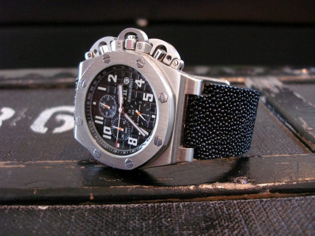 Custom Watch Straps for Audemars Piguet Royal Oak Offshore made from Black Stingray