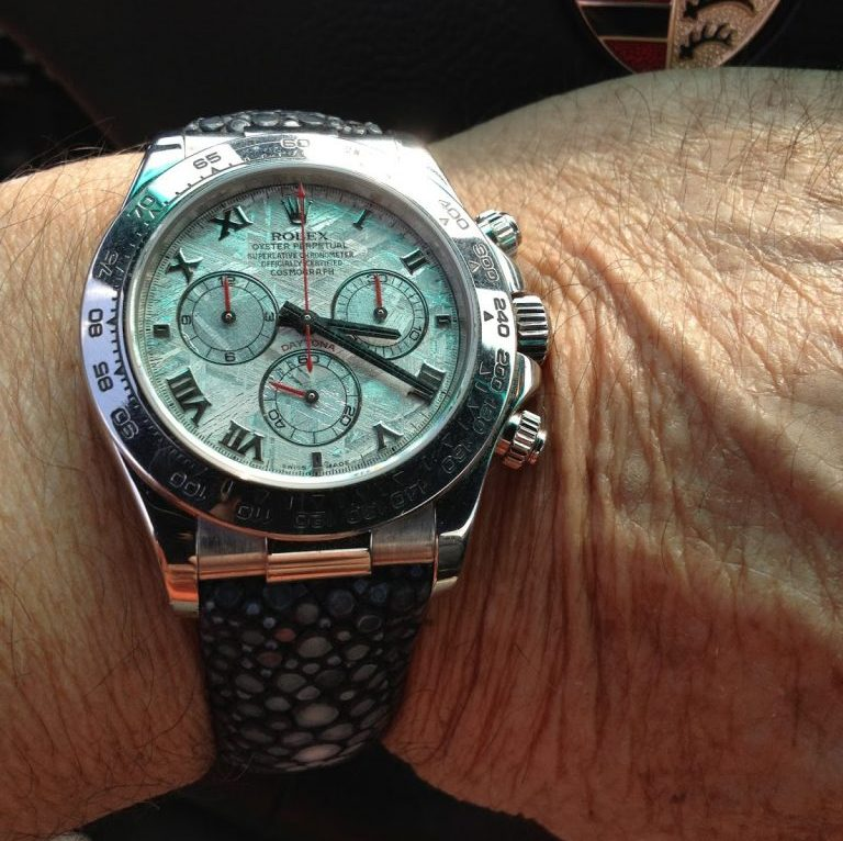 Rolex Meteorite Daytona on Stingray Strap with Central pearls