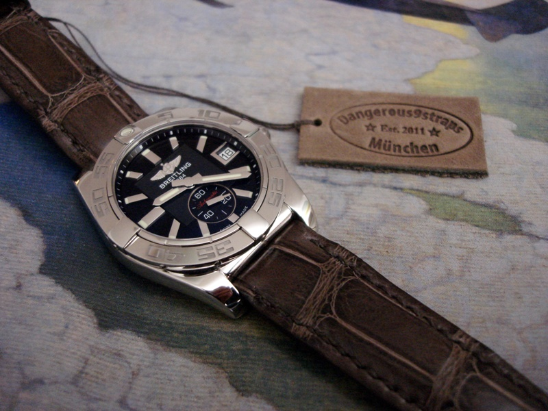 Anjelika's Breitling Galactic 36 Automatic on Tourbe Brune Alligator