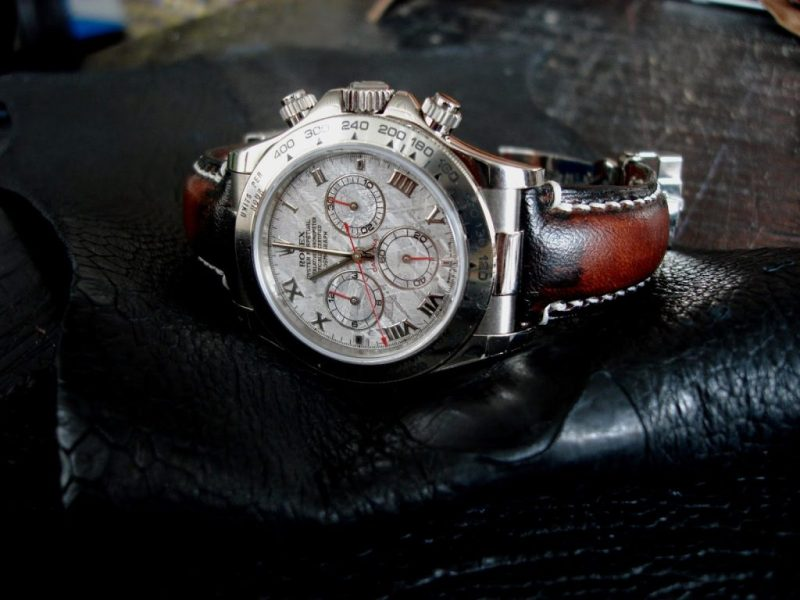 Antique Mahogany watch strap for Rolex Meteorite Daytona