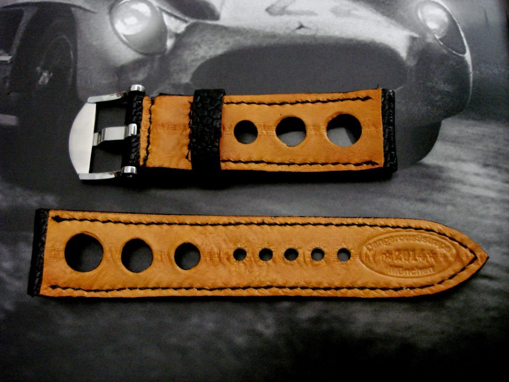 Satin-Black-Ostrich-Leg-Rally-strap-for-Blancpain-Fifty-Fathoms-Orang-lining