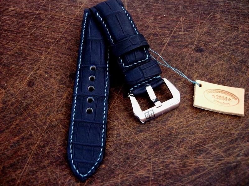 SuperMatte Carbon Blue Alligator strap on PAM312 with Integrated Fit