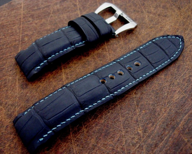 SuperMatte Carbon Blue Alligator strap on PAM312 with Integrated Fit - the Turquoise stitching