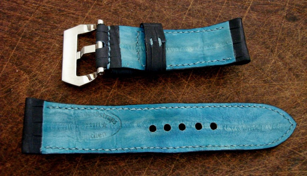 SuperMatte Carbon Blue Alligator strap on PAM312 with Integrated Fit - The Turquoise Eel skin lining