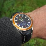 Bespoke Ostrich Leg skin strap for Omega Planet Ocean 42 Orange