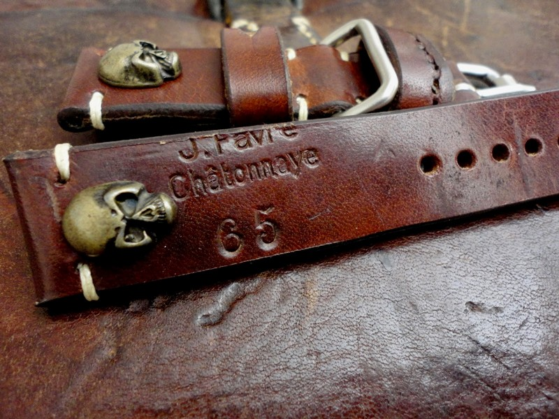 1965 Swiss Ammo Skulls strap for U-Boat with Roller Buckle and extra metal keeper