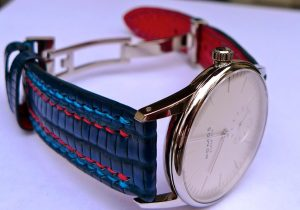 Custom strap for Nomos Orion 33 - Steel Blue Teju with Double Row stitching