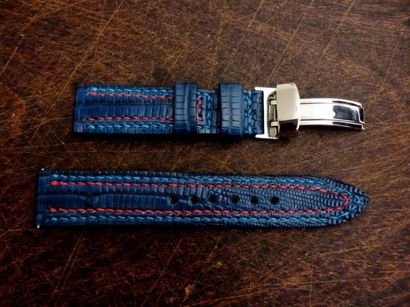 Custom strap for Nomos Orion 33 - Deep Blue Teju with Double Row stitching