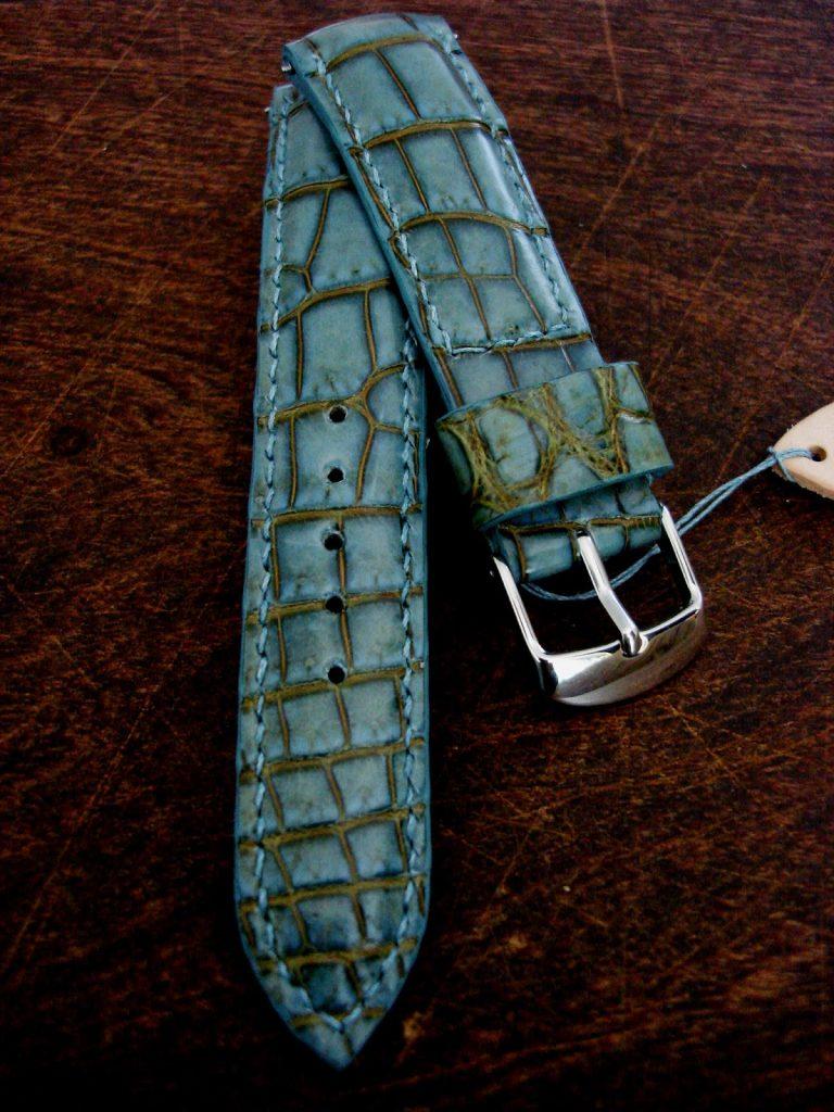 Martinique Bleu Alligator strap for Omega Seamaster