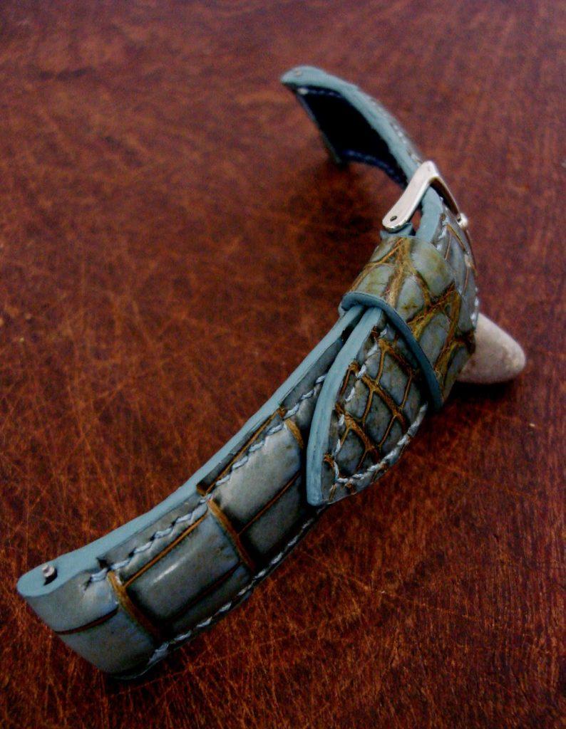 Martinique Bleu Alligator strap for Omega Seamaster - custom blended edge paint