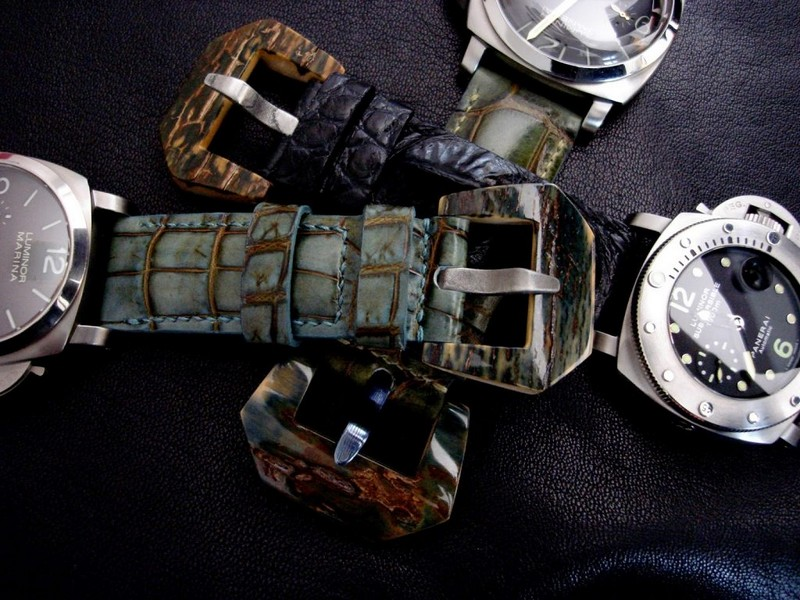 3 Custom Alligator straps for Panerai with Mammoth Buckles PAM351, PAM243 and PAM127