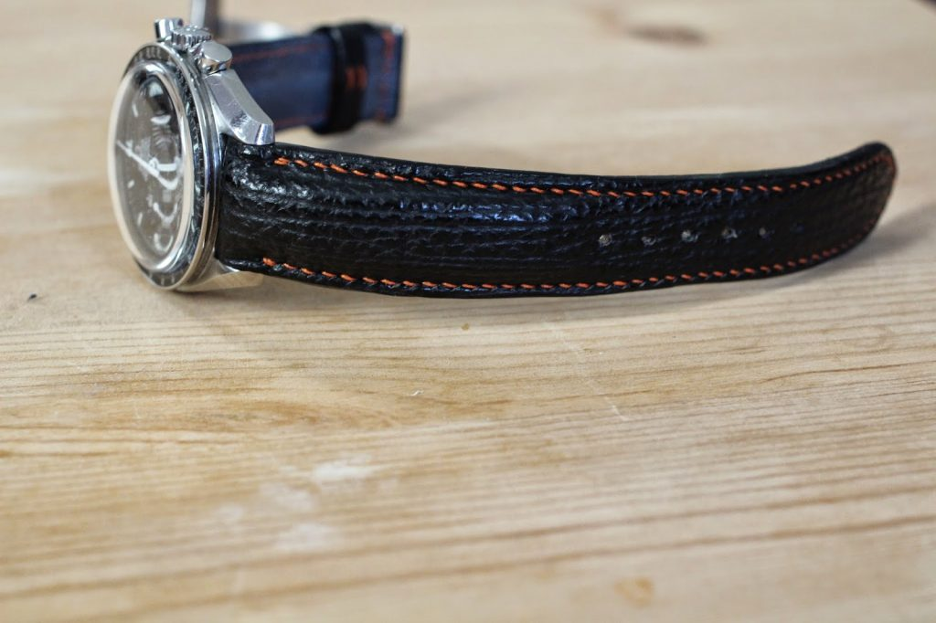 Sharkskin strap for Omega Speedmaster with integrated fit