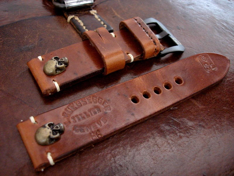 Antique Bronze Skull Rivets on 1966 Swiss Ammo strap