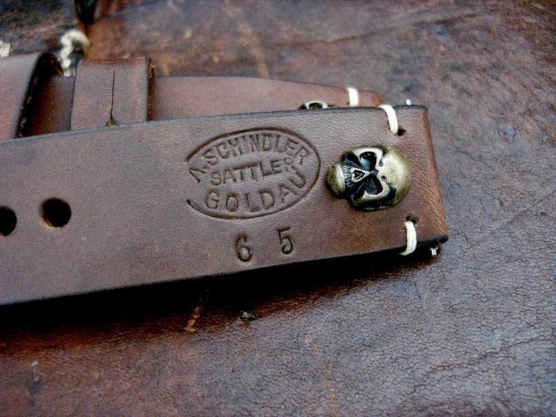 Antique Bronze Skull Rivet on 1965 Swiss Ammo strap