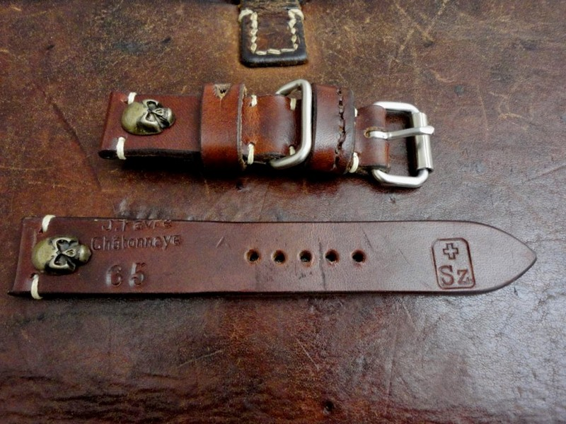 1965 Swiss Ammo Strap with Antique Bronze Skull Rivets