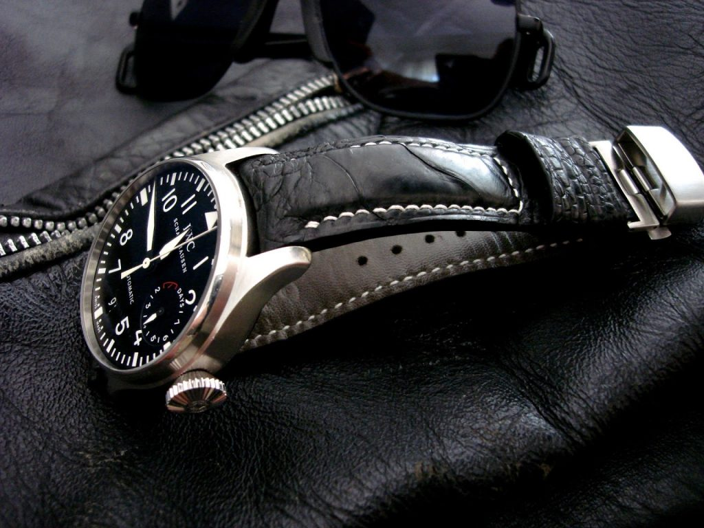 Satin-Black-Ostrich-Leg-skin watch-strap-for-IWC-Big Pilot-with-Integrated-fit