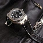 Custom Watch Strap for Royal Oak Offshore Diver Made From Racing Black Teju Lizard