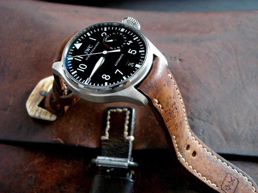 1925 Swiss Ammo strap for IWC Pig Pilot Ref 5009 with Integrated Fit and Mammoth Ivory buckle