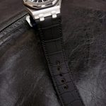 SuperMatte Carbon Black Alligator watch strap custom made for Audemars Piguet Diver