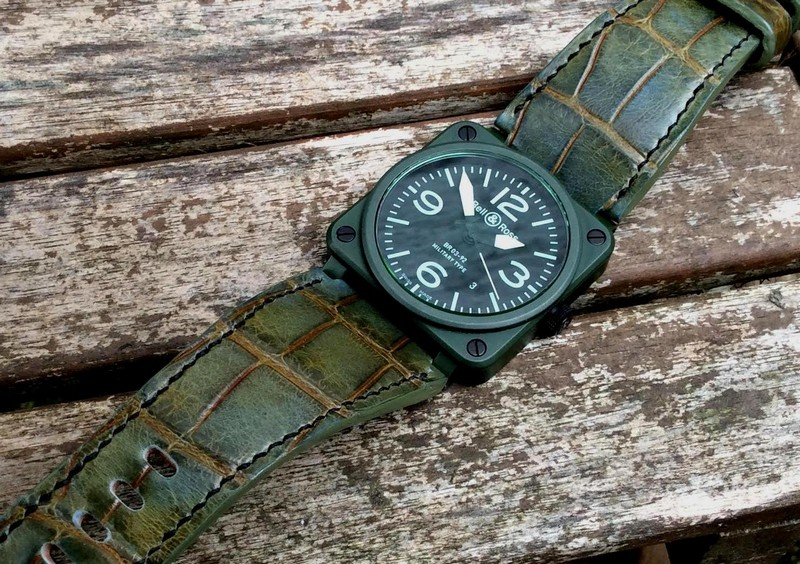 New customer photos of our Barbados Bleu Alligator on outstanding BR03 Ceramic Military