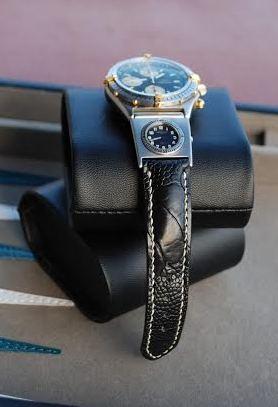 Custom Ostrich Leg skin strap for Breitling Chronomat with UTC module