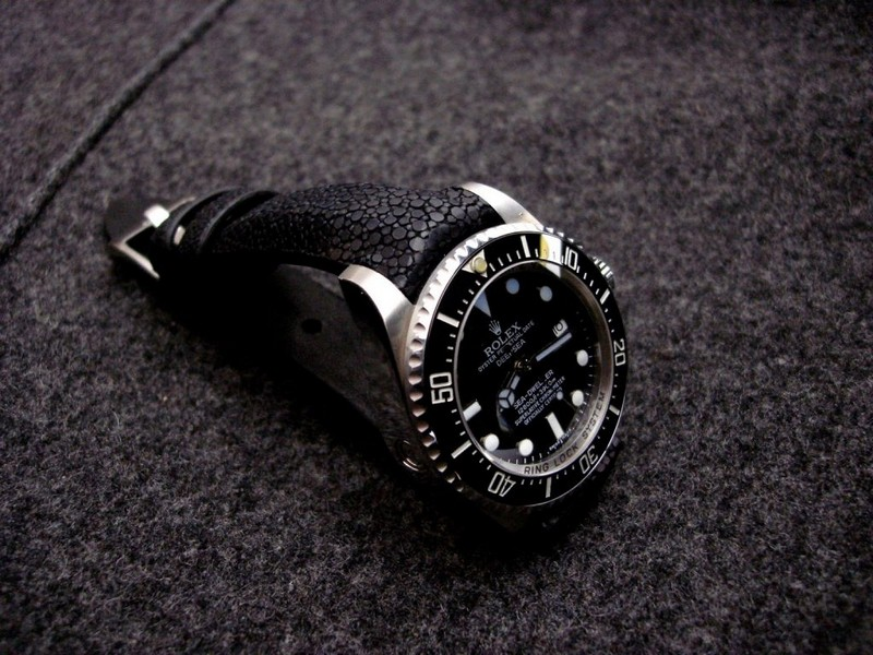 Rolex Deep Sea on Black Stingray watch strap with Integrated fit