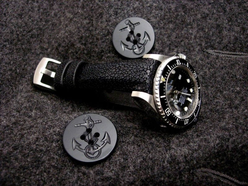 Matte Black Stingray Strap for Rolex Deep-Sea with Integrated fit