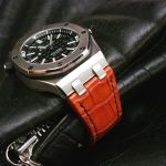 Custom Dyed Orange Alligator watch strap for Audemars Piguet Diver