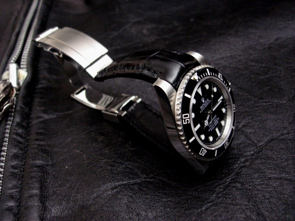 Rolex Submariner on 'Million Dollar' Black Alligator strap with 'Thick Curved Lug System' (TCLS)