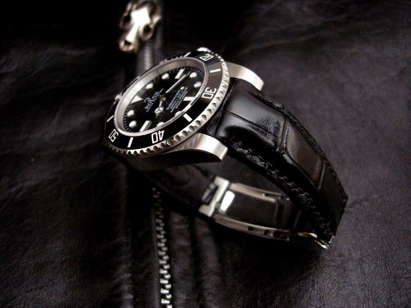 Rolex Submariner on 'Million Dollar' Black Alligator strap with 'Thick Curved Lug System' (TCLS) and Rolex Glide-Lock Clasp fit