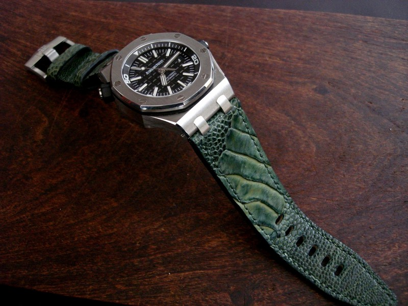 AP Diver on Cypress Ostrich Leg strap