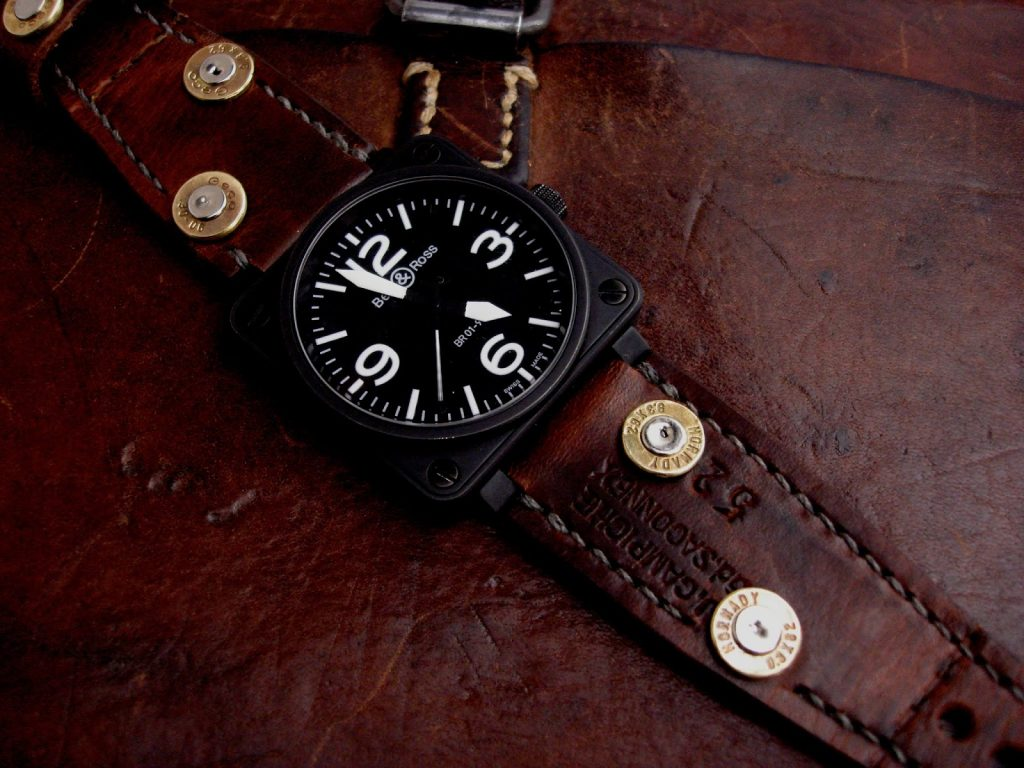 1952 Swiss Ammo strap with Custom Made 30-06 Bullet Shell Rivets on Bell & Ross BR01-92