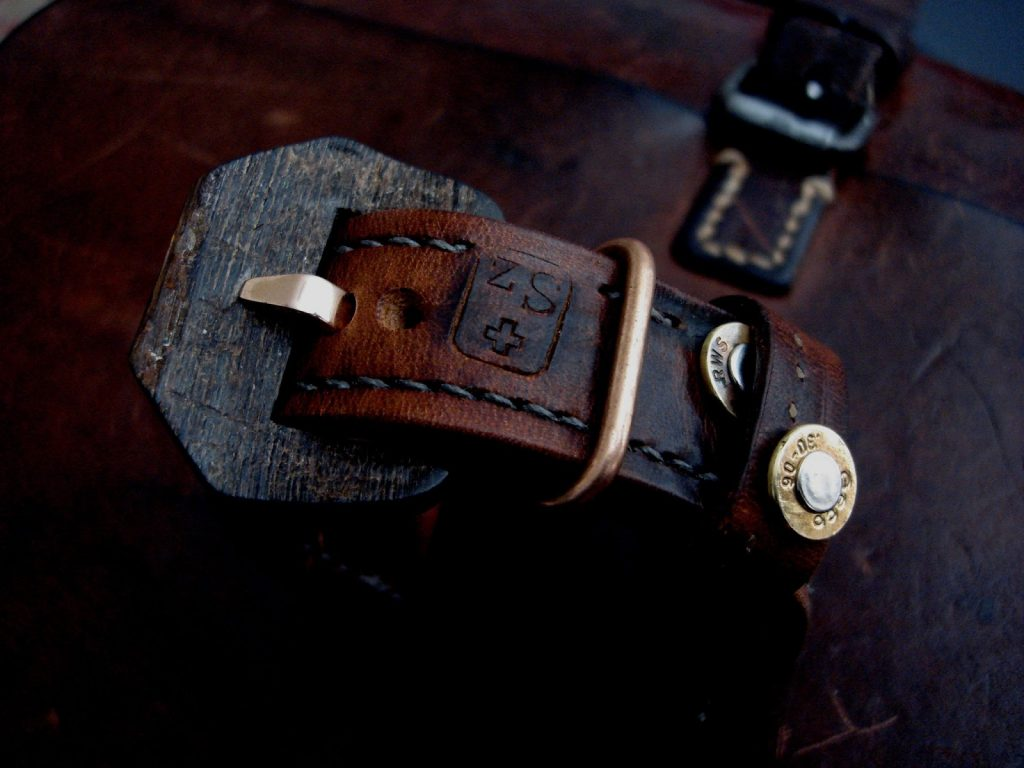 1952 Swiss Ammo strap with Custom Made 30-06 Bullet Shell Rivets - Bronze keeper loop