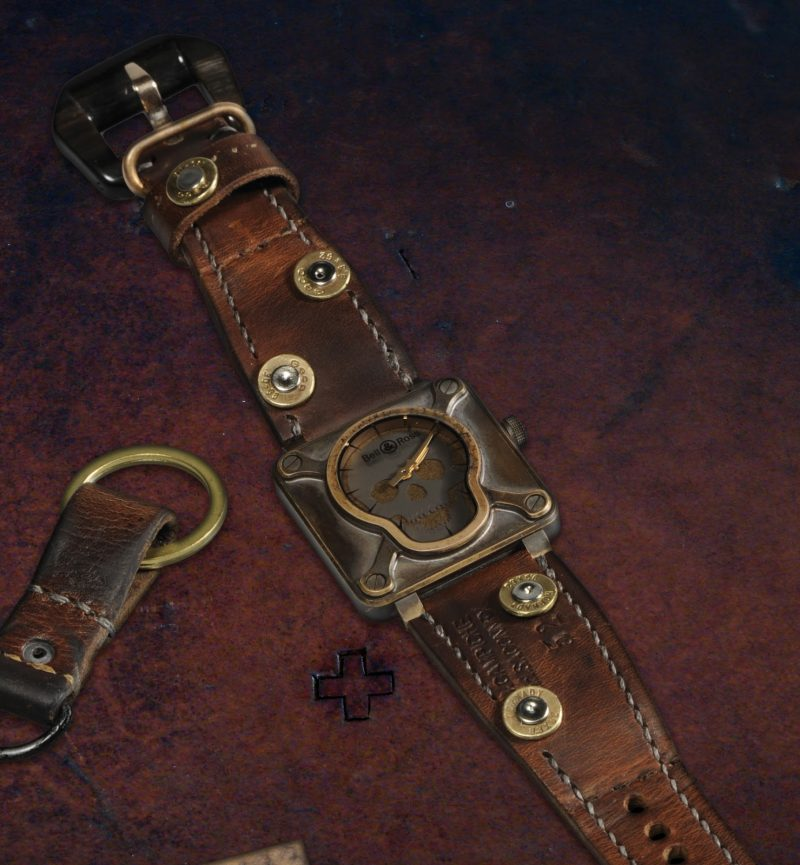 1952 Swiss Ammo strap with Custom Made 30-06 Bullet Shell Rivets for Bell & Ross Airborne Bronze