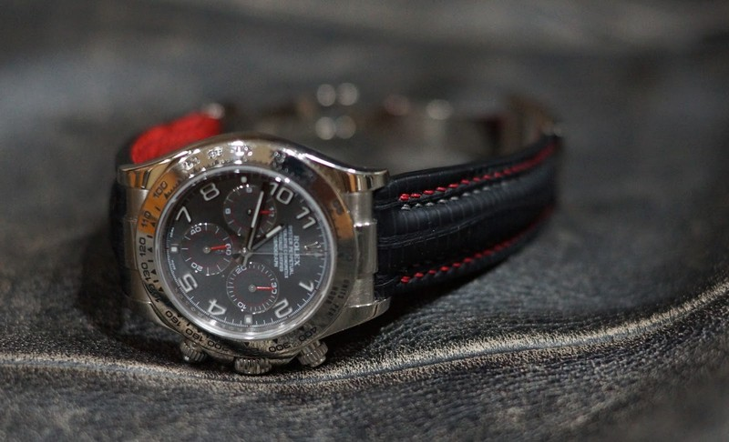 Rolex Daytona on SuperMatte Teju with Double Row Stitching Steel Grey and Red!!
