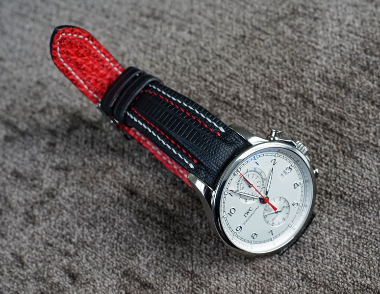 Joseph's Great looking IWC Portuguese Yacht Club Chronograph on SuperMatte Teju Lizard Strap with Double Row Stitching and Red Sharkskin Lining
