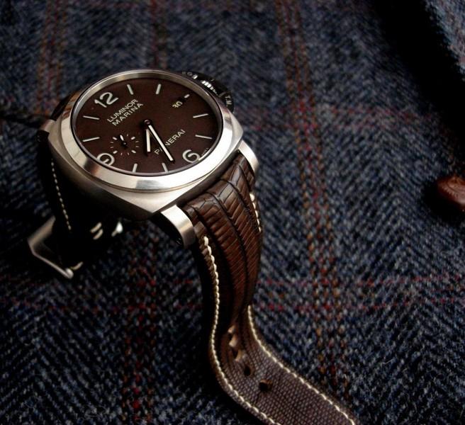 PAM351 on custom Tobacco Teju Lizard watch strap