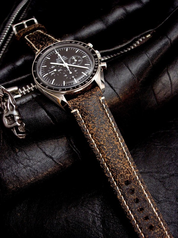 Super Distressed leather in 20mm lug widths - Great handmade leather Watch Strap for Rolex Sub and Omega Speedmaster