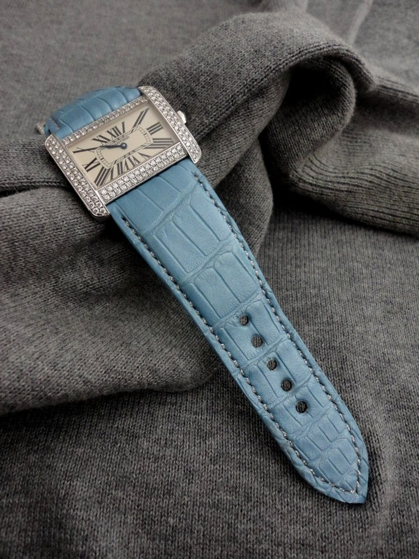 Pearl Blue Alligator watch Strap for Cartier Tank Divan Diamonds