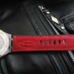 SuperMatte Carbon Black Alligator watch strap custom made for Audemars Piguet Diver - the Red Kangaroo Lining