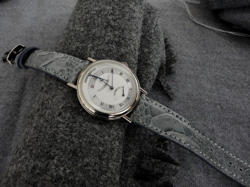 Classic Breguet 5207 on Denim Grey Ostrich leg skin strap with Silver stitching