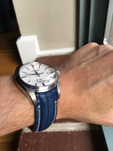 Brian's Awesome Grand Seiko in SuperMatte Blue Teju Lizard with Integrated Fit