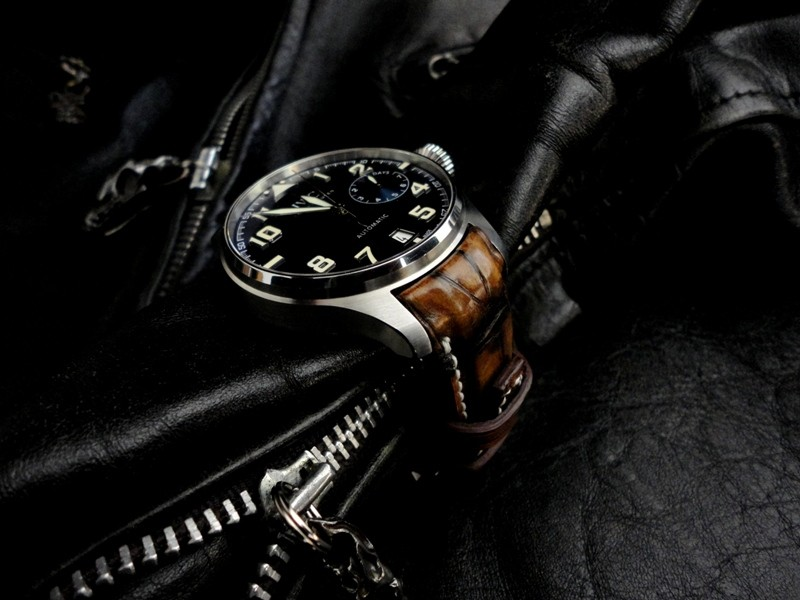 IWC Big Pilot le Petit Prince on Alligator strap with Hand Antiqued finish and out Integrated TCLS Fit
