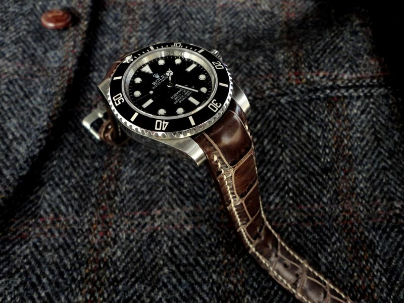 Available for Immediate Purchase: Tourbe Brune Alligator Strap with Integrated fit for Rolex Sub, GTM, etc. built for Extra Large Wrist Size - This strap is NOW SOLD!