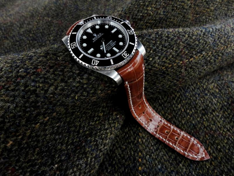 Available for Immediate Purchase: Vintage Cognac Alligator Strap with Integrated fit  for Rolex Sub, GTM, etc.