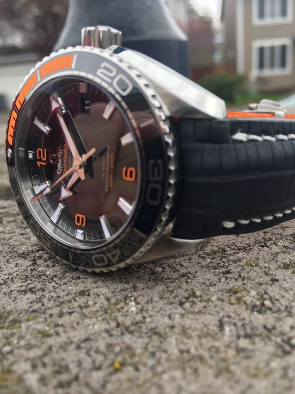 Gary's Great Looking Omega Planet Ocean on SuperMatte Teju strap in Carbon Black with SuperMatte Teju Lizard lining