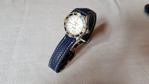 Breitling Lady J on Blue SuperMatte Teju Lizard strap