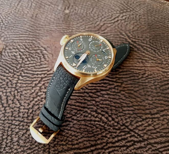IWC Big Pilot on custom Black SuperMatte Ostrich Leg strap with Integrated Fit - top view